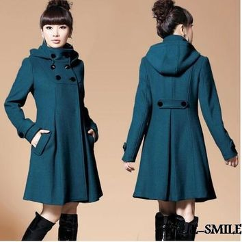 Women's Thick and Long Hooded Cape Wool Coat