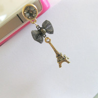 Eiffel tower iphone charm accessory. Iphone or smartphone dust plug.