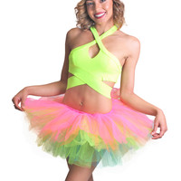 Yellow (Neon) Keyhole Halter Crop Top and Rainbow Tutu Outfit