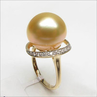 Unique Design 11mm South Sea Pearl 14K Yellow Gold Pave H/SI Diamond Ring Size 6