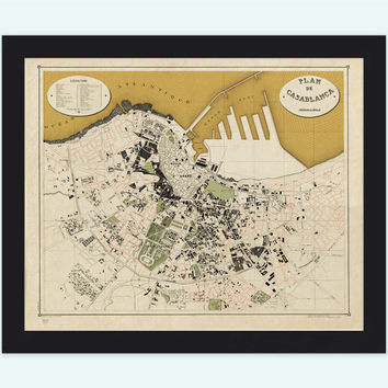Old Map of Casablanca Morocco 1920  Vintage Map