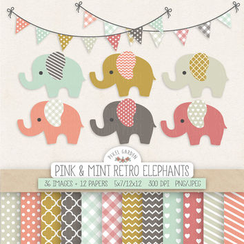Elephant Clipart. Baby Shower, Nursery Clip Art & Digital Paper. Banners in Mint, Peach, Mustard, Pink. Chevron, Hearts, Polka Dot Patterns.