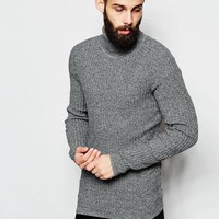 River Island Ribbed Roll Neck Knitted Jumper at asos.com