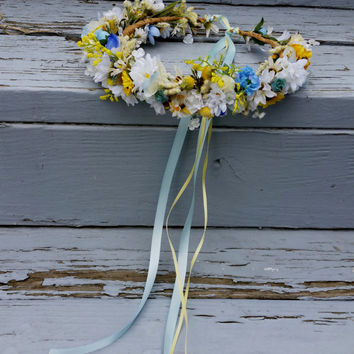 Bridal flower crown Summer Wedding hair wreath yellow blue artificial silk dried style boho accessories Ready to Ship woodland halo
