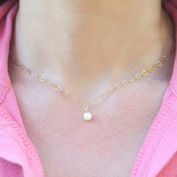 Bridal pearl necklace  Single Pearl Necklace on 14k by JulJewelry