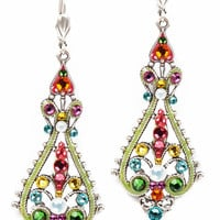 Anne Koplik Designs Multicolored Swarovski Crystal Leverback Earrings