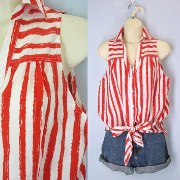 Sleeveless Vintage Blouse, Red Striped Blouse, 90s Tie Blouse, Summer Blouse, Loose Summer Top, Size Medium Blouse, Vintage Blouses