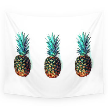Society6 Tri Soldier Pineapples Wall Tapestry