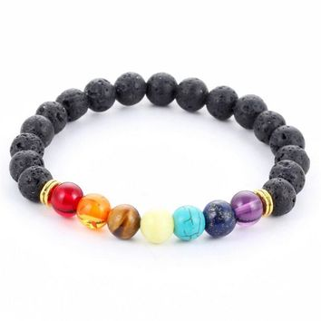 new 2016 design mens bracelets black lava 7 chakra healing balance beads bracelet for men women rhinestone reiki prayer stones  3