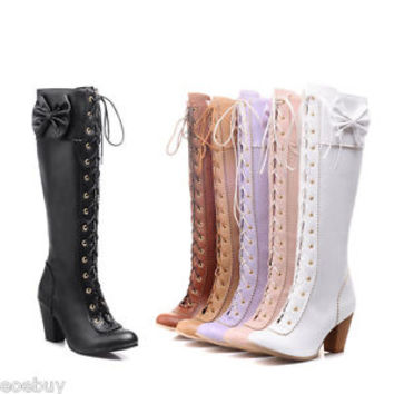Women's Block Heel Shoes Cosplay Lace-up Bow Kawaii Knee High Boots US Size O180