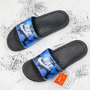 Nike Benassi Swoosh Blue Camo White Slide Sandal Slipper - Best Deal Online