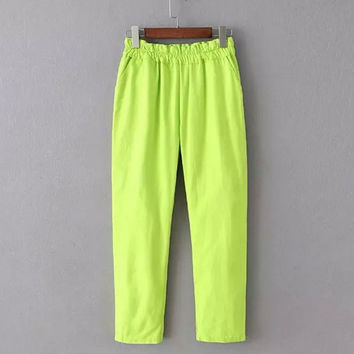 Korean Summer Women's Fashion Sweets Pants Casual Cropped Pants [4920632708]