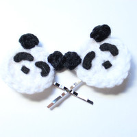 Panda bobby pins. Crochet animal hair pins. Black and white hair accessory. Christmas In July Sale