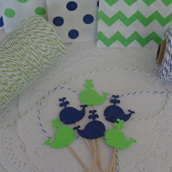 24 Navy Blue and Lime Green Whale Cupcake Toppers - Food Picks - Party Picks - Baby Shower - Birthday Party