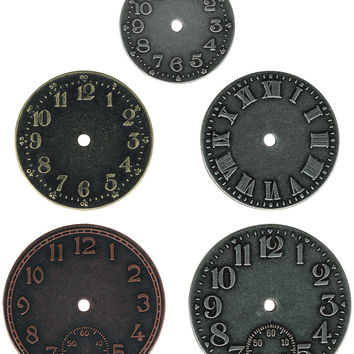 "Idea-Ology Timepieces Clock Faces 1.25"""" To 1.75"""" 5/Pkg-Antique Nickel, Brass & Copper"