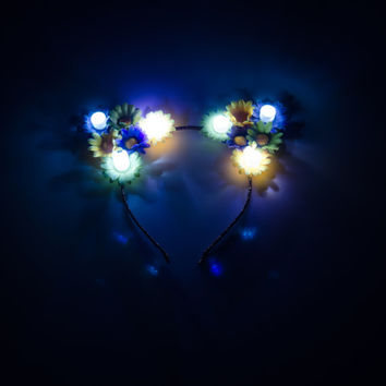 Mardi Gras LED Cat Ear Headband, Floral Cat Ears, LED Headband, Mardi Gras Dress, Mardi Gras Costume, Holiday Clothes, Festival Wear