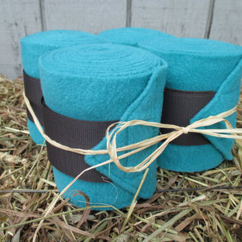 Set of 4 Polo Wraps for Horses- Teal Green with Dark Brown Velcro Closure