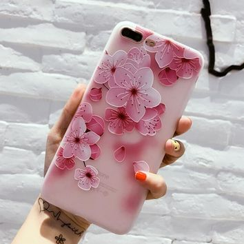 Pink Floral Case for iPhone X 8 7 6S Plus &Gift Box