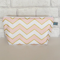 Metallic Chevron Makeup bag