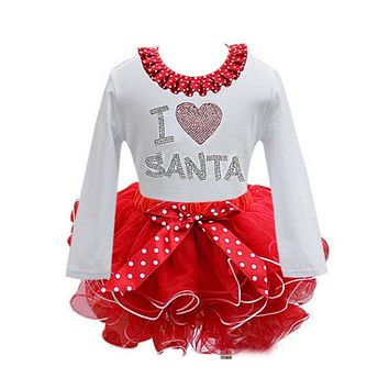 cartoon Girl clothing Christmas baby girls lace kids clothes cotton baby tutu princess dress Newest