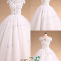 Jewel sleeveless floor-length ball gowns wedding dress with appliues and sequins