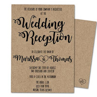Wedding Reception Invitation - Kraft Wedding Reception Invitations - Reception Party Invites - Printed or Printable - Black and Kraft Trendy