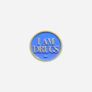 I Am Drugs Soft Enamel Lapel Pin - Salvador Dali Inspired