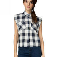 Black and White Plaid Sleeveless Pointed Flat Collar Blouse