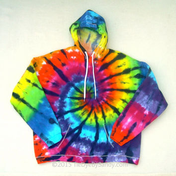 XL Tie-Dye Sweatshirt-Stained Glass Rainbow Spiral Hoodie