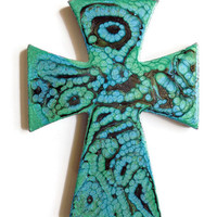 Decorative Cross, small cross, wall cross hand painted in jewel tones of blue, green and black, colorful cross, nursery decor