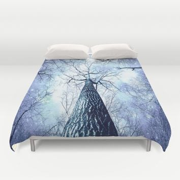 Wintry Trees Periwinkle Ice Blue Space Duvet Cover by 2sweet4words Designs