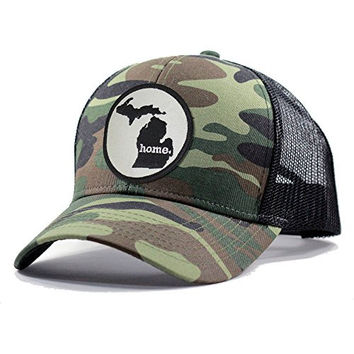 Homeland Tees Men's Michigan Home State Army Camo Trucker Hat - Black