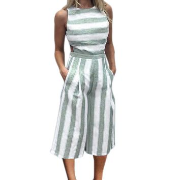 Women's Sleeveless Striped Wide-Leg Jumpsuit