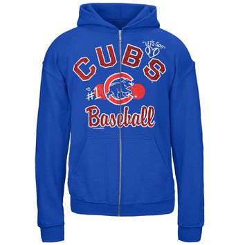 Chicago Cubs - Glitter Logo Girls Youth Zip Hoodie - Youth