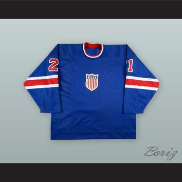 Bryan Smolinski 21 USA National Team Blue Hockey Jersey