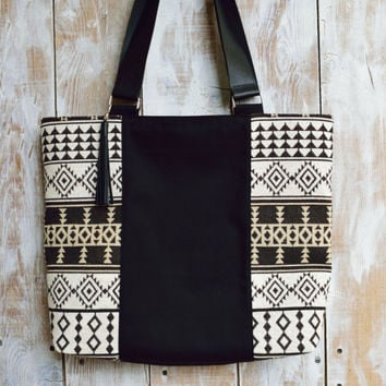 Black Canvas Tote,Canvas Zippered Tote,Zippered Canvas Tote,Leather Strap Tote,Fabric Tote,Boho Tote,Ethnic Tote,Fabric Bag,Everday Tote
