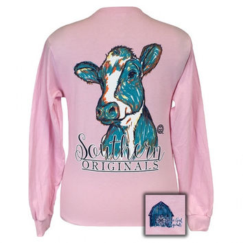 Girlie Girl Originals Southern Preppy Watercolor Cow Long Sleeve T-Shirt