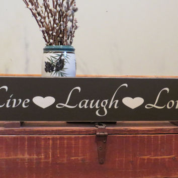Live, Laugh, Love hand painted wood sign with hearts - wedding gift, anniversary gift, birthday gift