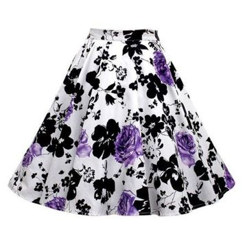 Hepburn Style Vintage Bubble Skirt A-line Pleated Skirt   white purple