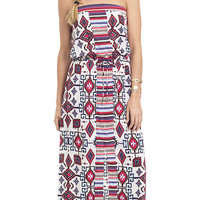 That 70s Style Strapless Printed Maxi Dress