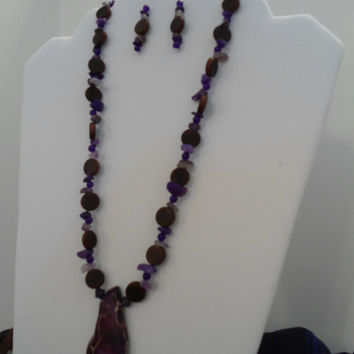 Simple Purple Necklace & Earrings Set: Jasper Necklace, Amethyst Necklace earrings, Purple Ruby Necklace, Wood Necklace