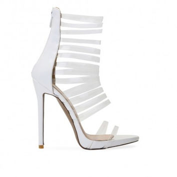 IMANI CLEAR MULTI STRAP HEEL IN WHITE PATENT