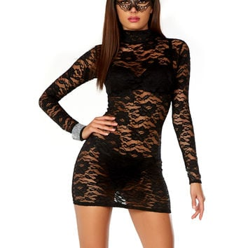 Sexy Clubwear Dress High Neck Lace Mini Dress