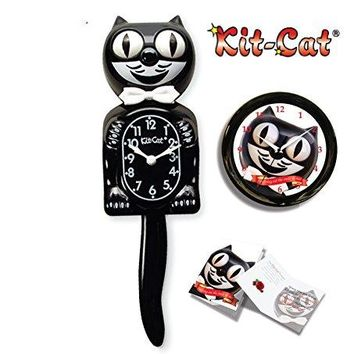 California Kit-Cat Large Clock Bundle, Classic Black BC01 Clock, Round Cat Clock, Limited Edition