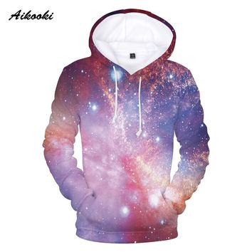 Aikooki Flame Sky Hoodies 3D Space Galaxy Hoodies Men/Women Sweatshirt Hooded 3d Brand Clothing Cap Hoody Print Nebula Jacket 3d