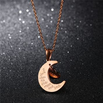 Rose Gold Crescent Moon Pendant I Love You to the Moon and Back Necklace Women Fashion Statement 2017 Mom's Women Jewelry Gift