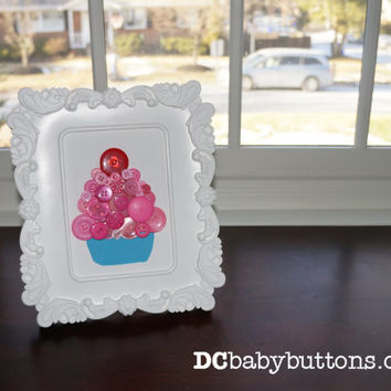 "5""x7"" Framed Cupcake Button Art, children's room art, nursery art, home decor button art"