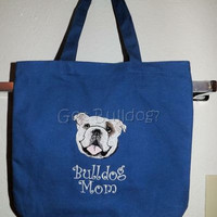 Blue Embroidered English Bulldog Mom Tote Bag