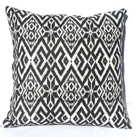 Fair Isle Black and White Tribal Print Throw Pillow, 14x14, Dorm Decor – Pillow Insert Included