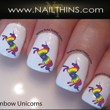 Rainbow Unicorn Nail Decal Magical Horse Nail Design by NAILTHINS